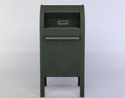 3d asset game-ready green post box