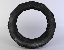 black tire 3d asset VR / AR ready