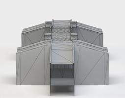 dam bridge low-poly 3d model