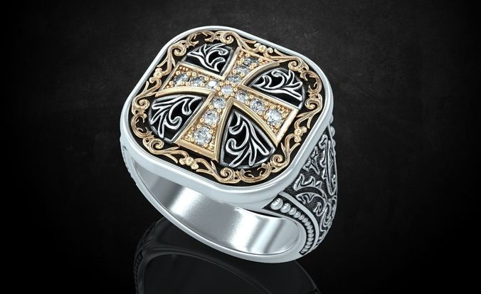 ring with patterns and a cross ancient stylish 237 3d model stl 3dm 1