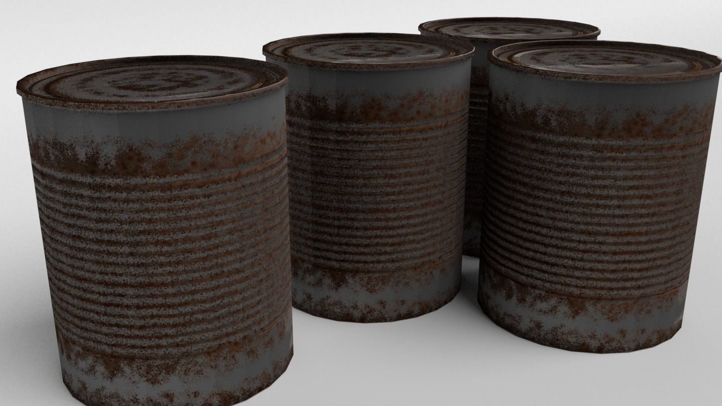 Rusty Tin Can - Low Poly PBR