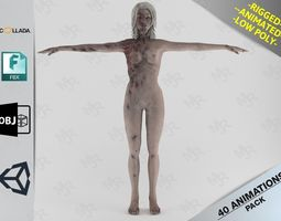 3D model Female Zombie1 Animations Pack