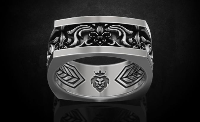 ring with heraldic lily with patterns and lion 238 3d model stl 3dm 1