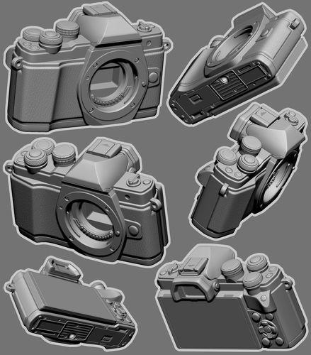 camera model- olympus e-m10 mark ii - solid and hollow 3d model stl 1