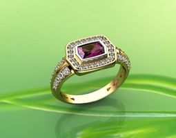 Pink Sapphire and Diamond Ring in 18k 3D printable model