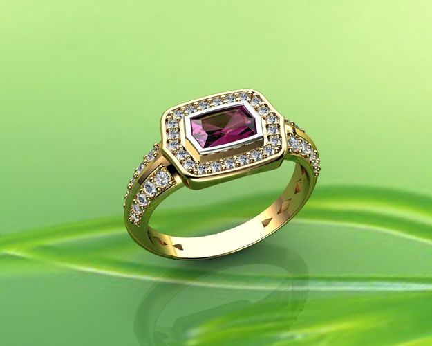 pink sapphire and diamond ring in 18k 3d model stl 3dm 1