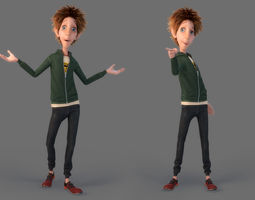 child Cartoon Boy Rigged 3D