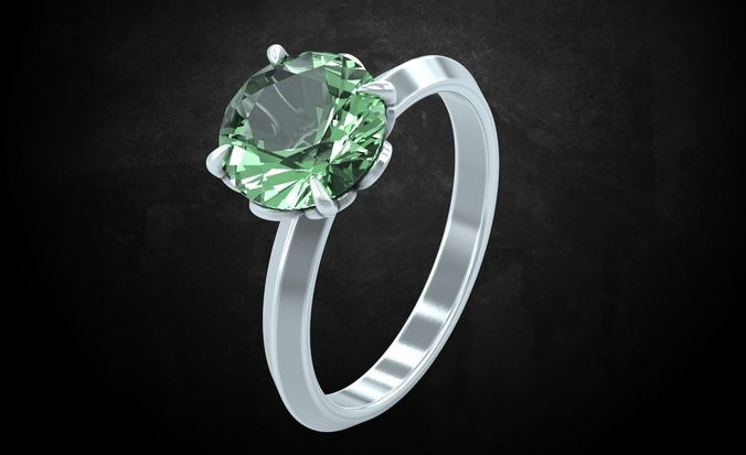 ring with large stone feminine gentle 239 3d model stl 3dm 1