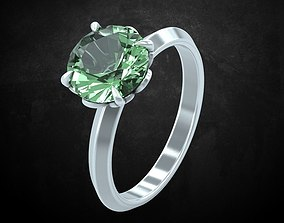 Ring with large stone feminine gentle 3D print model
