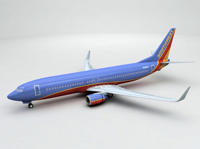 boeing 737-800 ng airliner - southwest airlines  3d model low-poly max obj 3ds dxf stl wrl wrz 1