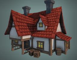 Low Poly Big House 3D asset