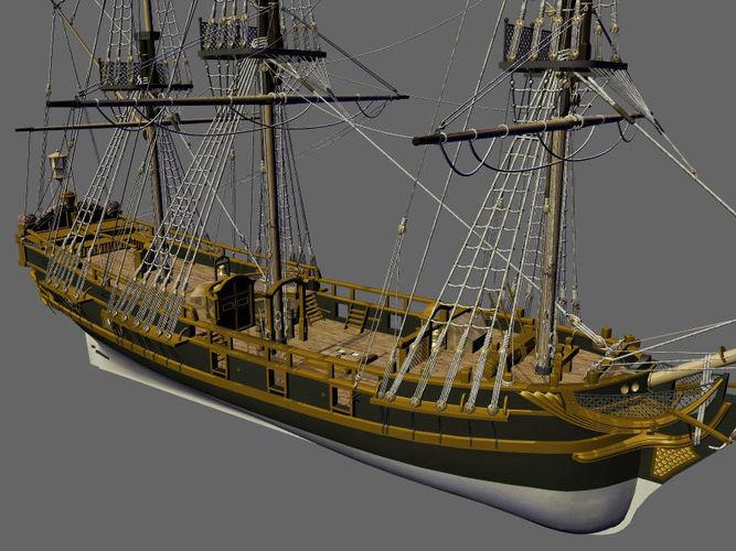 licorne galleon sailing pirate ship 3d model max obj fbx ma mb mtl 1