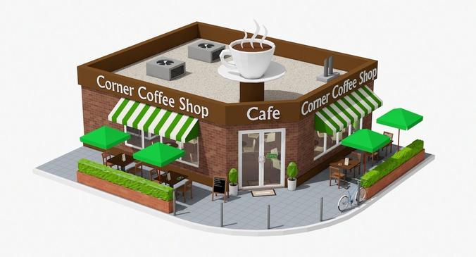 3d Model Corner Coffee Shop Cgtrader