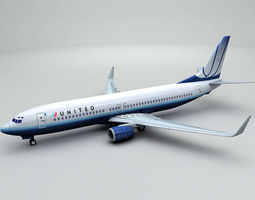 Boeing 737-800 NG Airliner - United Airlines 3D model