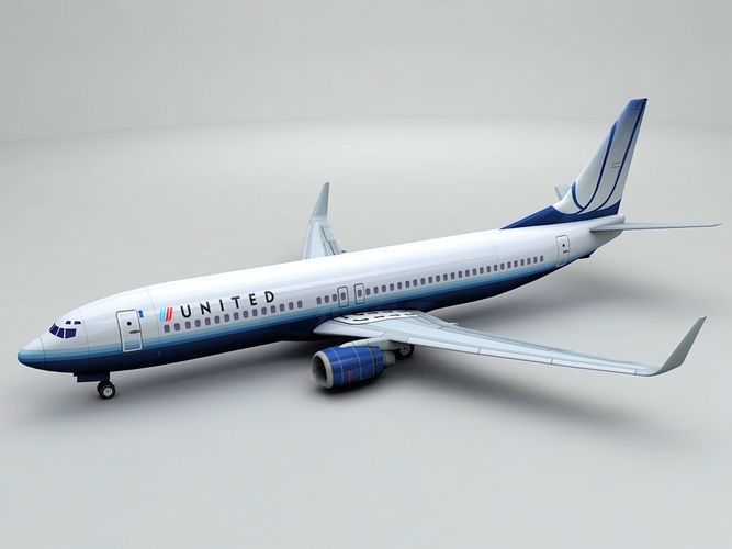 boeing 737-800 ng airliner - united airlines 3d model low-poly max obj mtl 3ds dxf stl wrl wrz 1