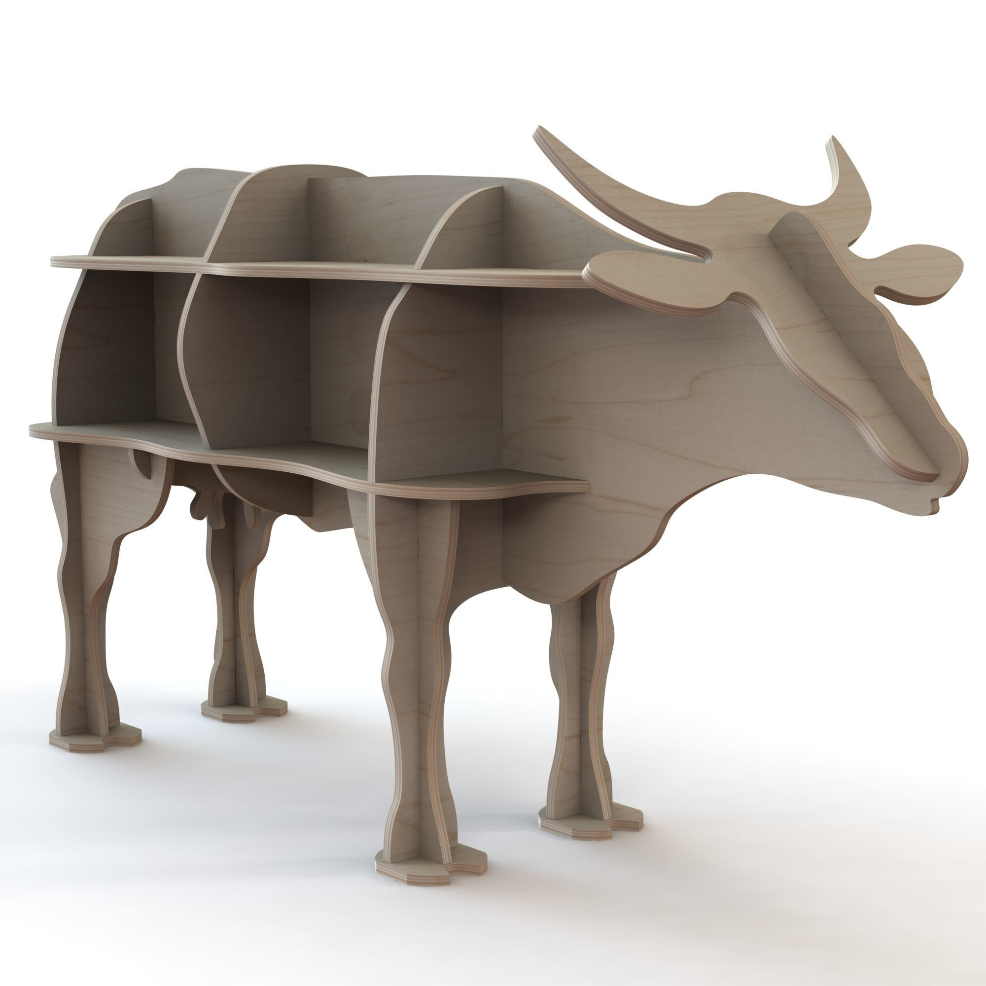 CNC Cutting pattern for wooden cow figure