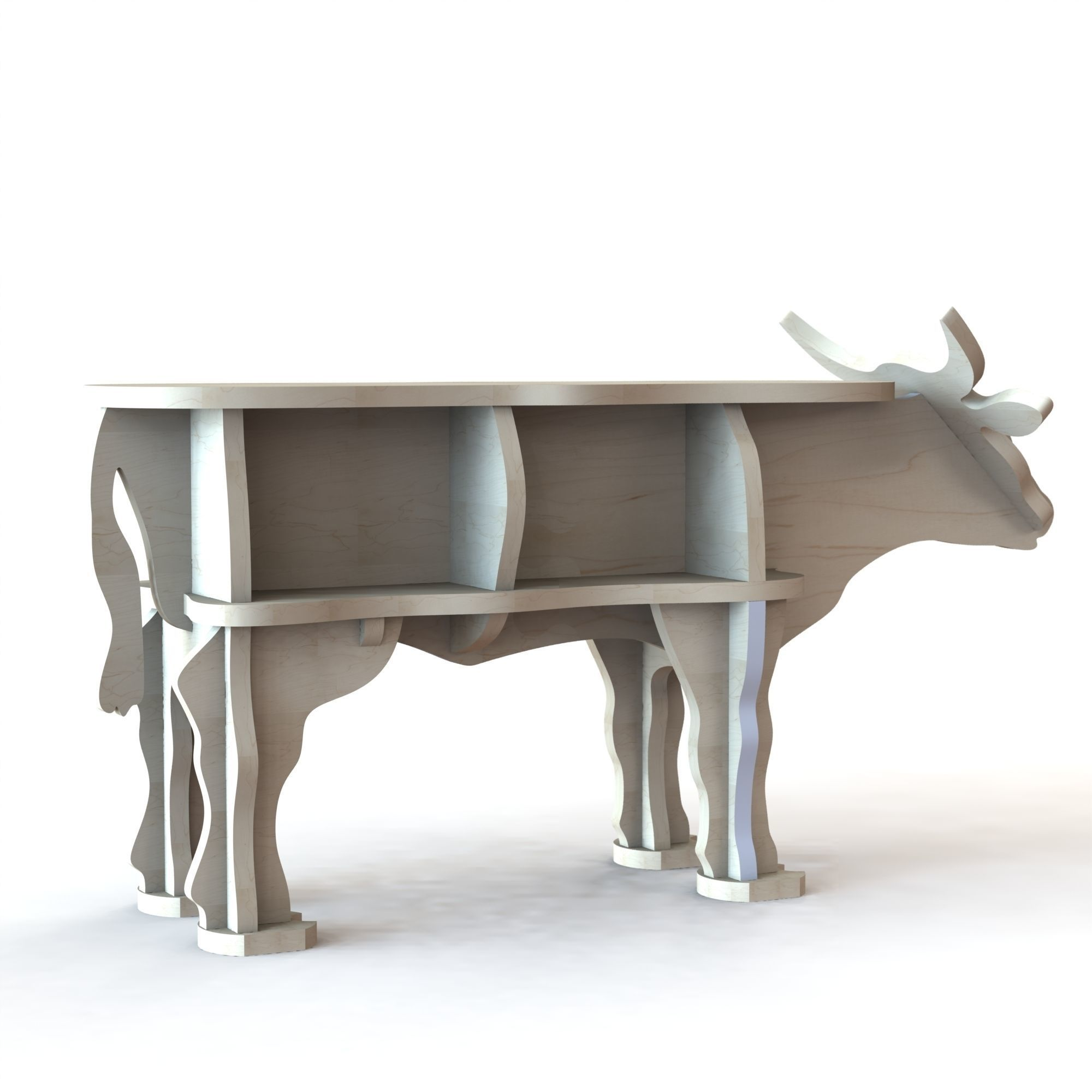 3d Model Cnc Cutting Pattern For Wooden Cow Figure With 1