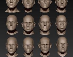 3D model 12 Male Heads