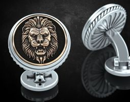Stylish cufflinks with lion 243 3D printable model