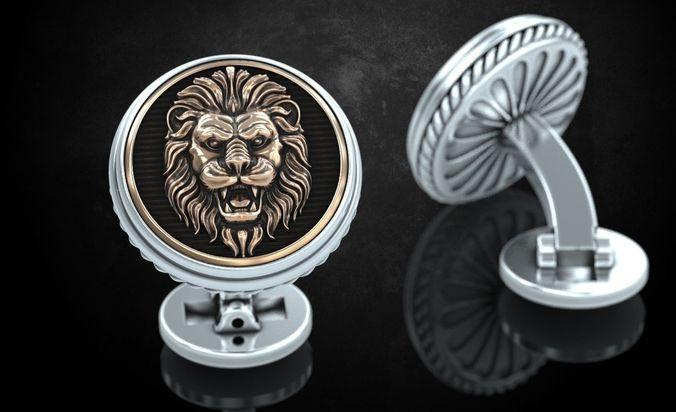 stylish cufflinks with lion 243 3d model stl 3dm 1