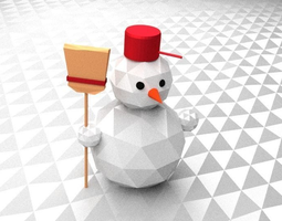 Snowmen in Central Europe style and lowpoly 3D model