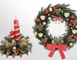christmas candle and wreath 3D model