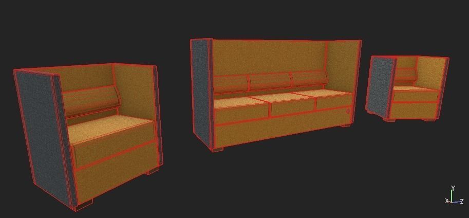 Ergonomic Sofas Model Low Poly Max Obj Mtl Fbx Ma Mb 6