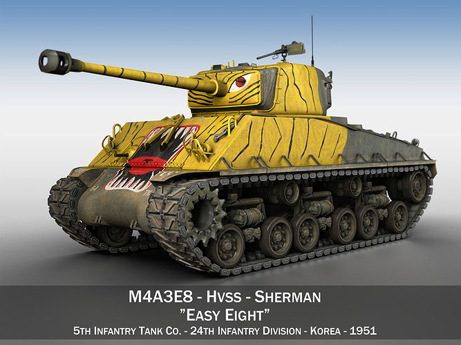 m4a3e8 sherman - easy eight - korea 3d model obj 3ds fbx c4d lwo lw lws mtl 1