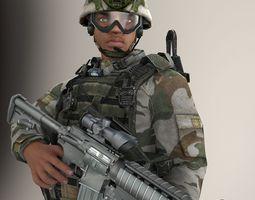 Soldier Black Lite V1 Rigged 3D
