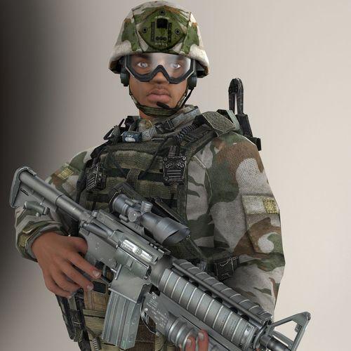 Soldier Black Lite V1 Rigged3D model