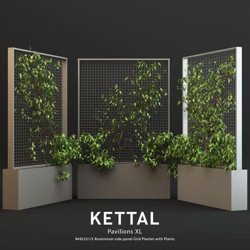 kettal pavilions xl planter with plants 3d model low-poly max obj mtl 1