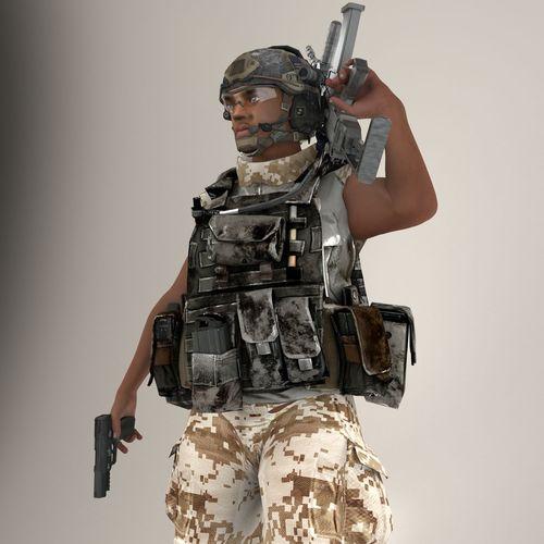 Soldier Black Lite V2 Rigged3D model
