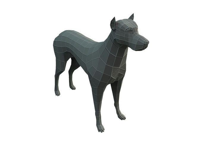 low poly base mesh dog 3d model low-poly obj mtl fbx ma mb 1