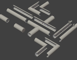 Industrial pipes 3D model