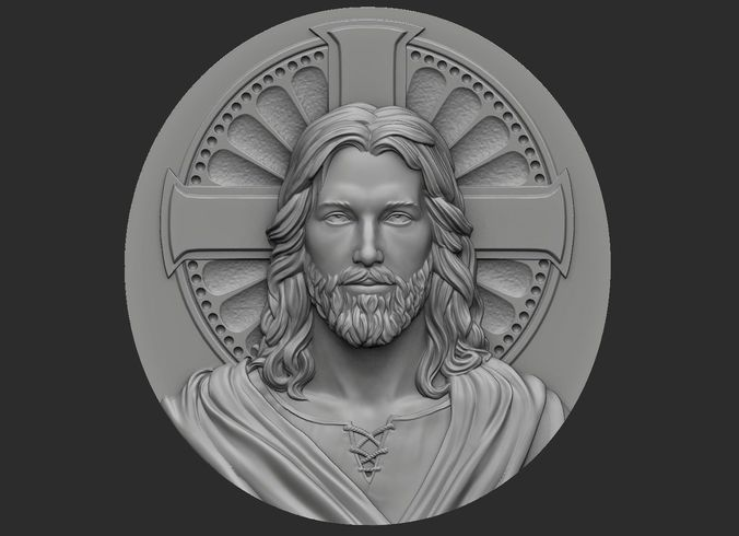 medallion of jesus no 1 3d model obj stl 1
