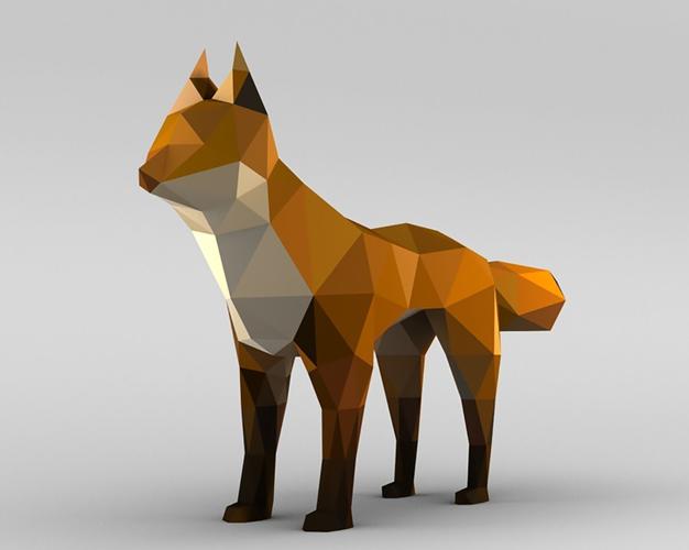 3D Model Vertex Coloured Fox