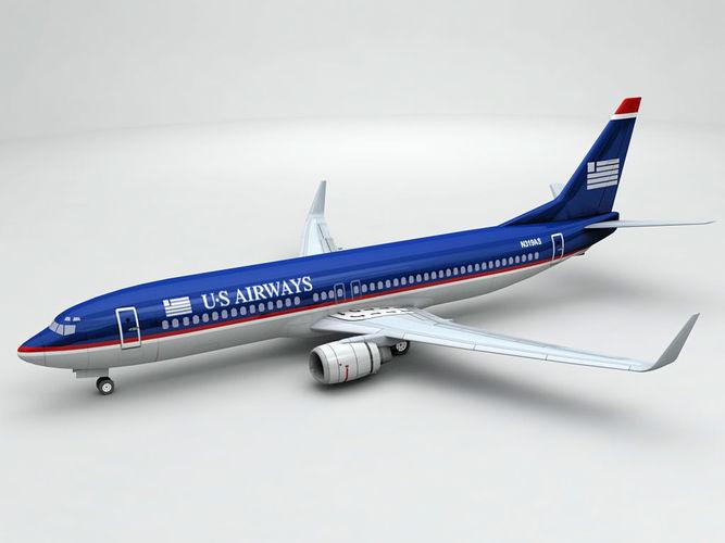boeing 737-800 ng airliner - us airways 3d model max obj 3ds dxf stl wrl wrz 1