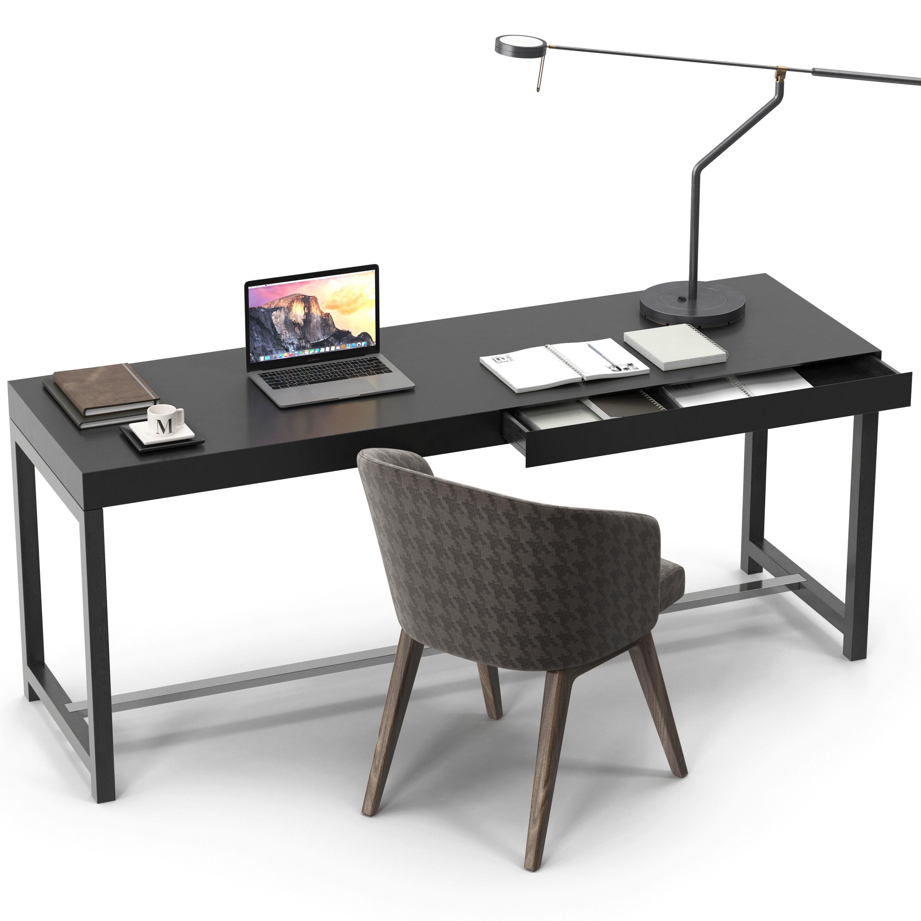 Minotti Fulton Desk Creed Chair Set 3d Model Max Obj 4