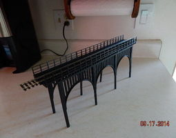 3d print model ho train bridge with lower supports - 15 inch