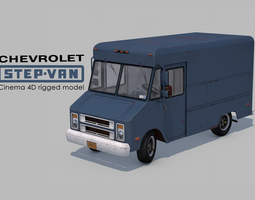 3D asset low-poly Chevrolet STEP-VAN P20 Rigged