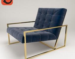 blue Goldfinger Chair by Jonathan Adler 3D