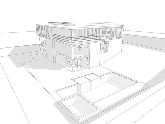Nice Modern House 3d Model 3ds Dae Dwg Skp 1 ...