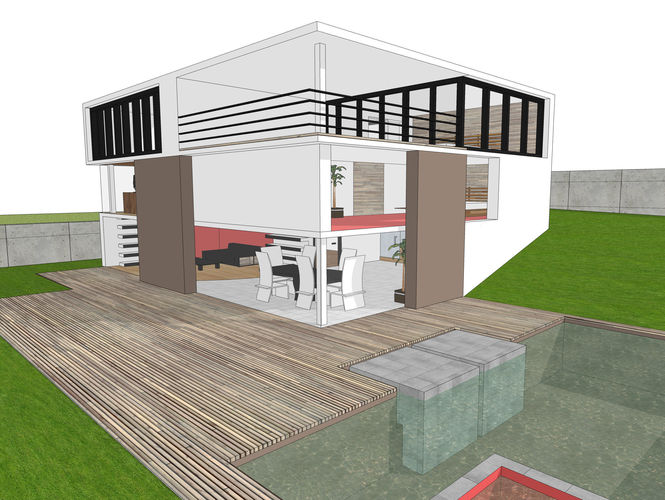 Modern house free 3d model 3ds dae dwg skp New model contemporary house