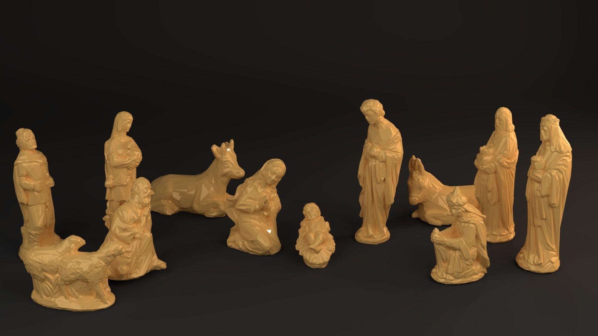 Nativity Crib figures - Low Poly