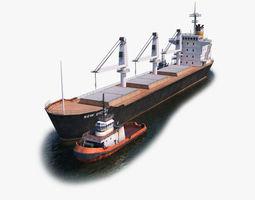 Bulk Carrier and Tugboat 3D model