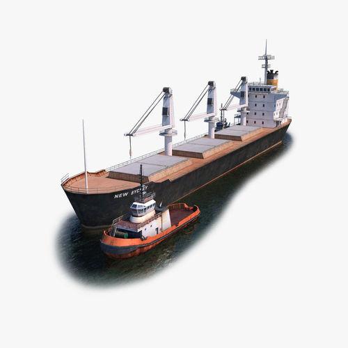 bulk carrier and tugboat 3d model max fbx c4d dae 1