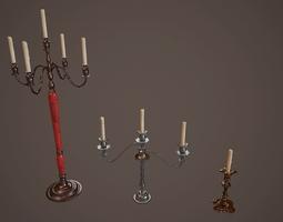 3D asset Lowpoly PBR Candlestands