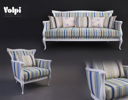 Volpi Matilde Sofa and Chair 3D Model