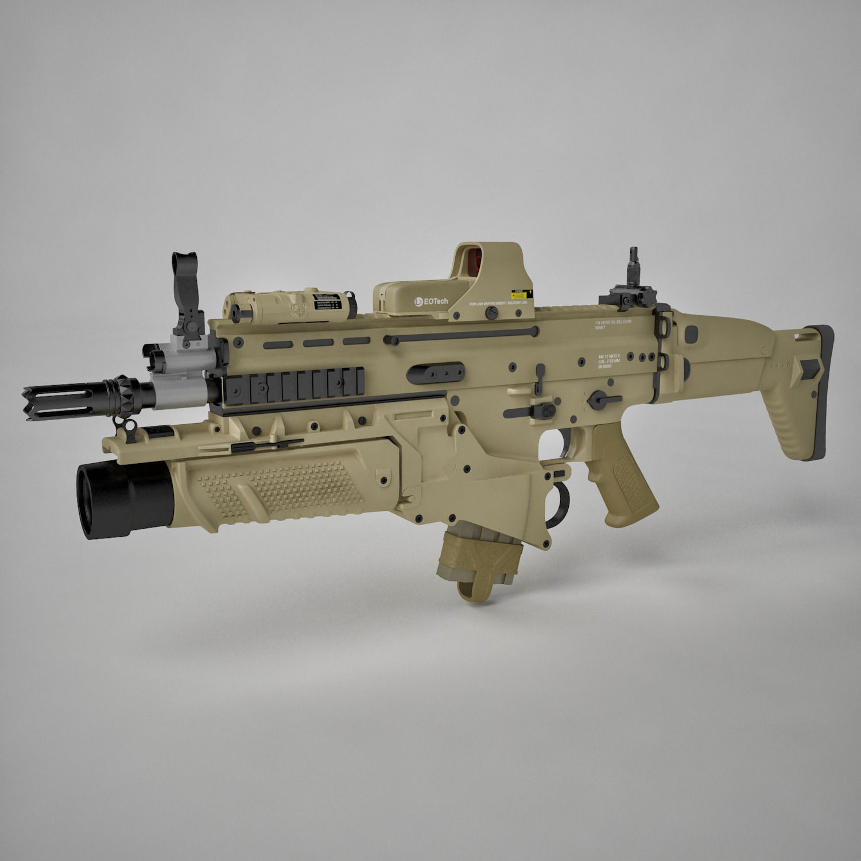 combat assault rifle fn scar h 3d cgtrader