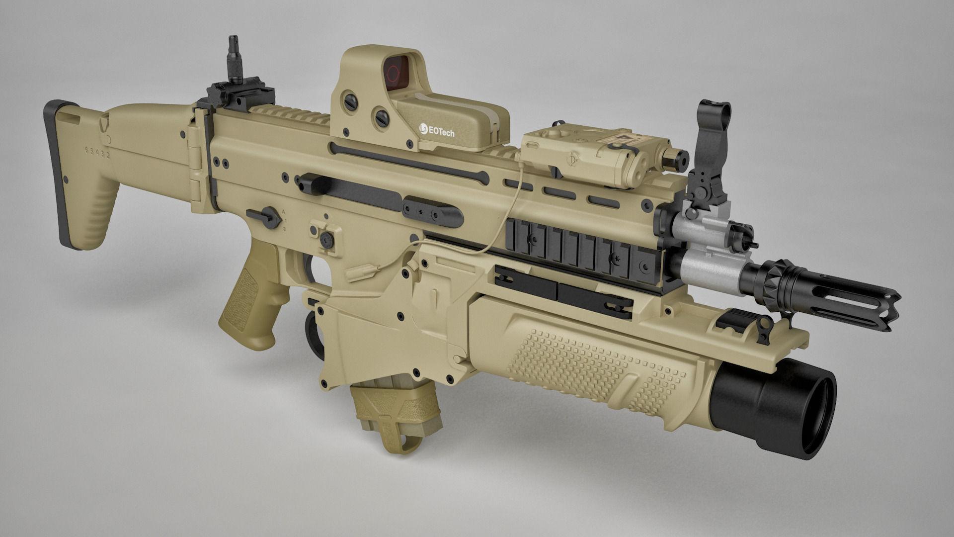 Combat Assault Rifle Fn Scar H 3d Model Max C4d